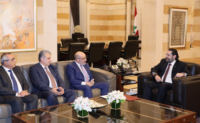 Pr Minister Saad Hariri meets Former Minister Yacoub Saraf with a Delegation