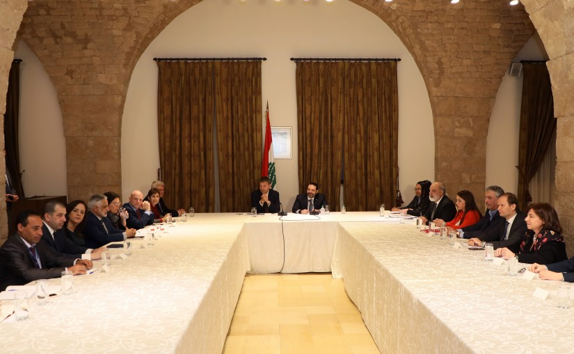 Pr Minister Saad Hariri Meets Mr Philippe Lazzarini with a Delegation