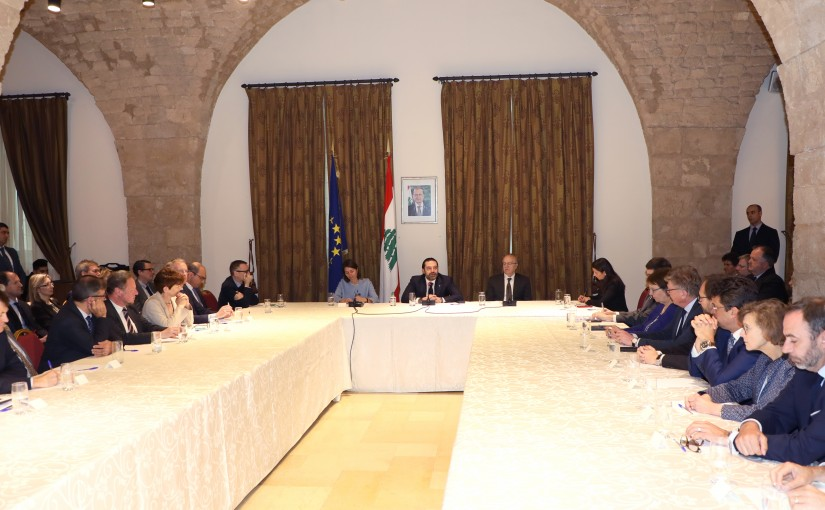 Pr Minister Saad Hariri meets a Delegation from European Ambassadors