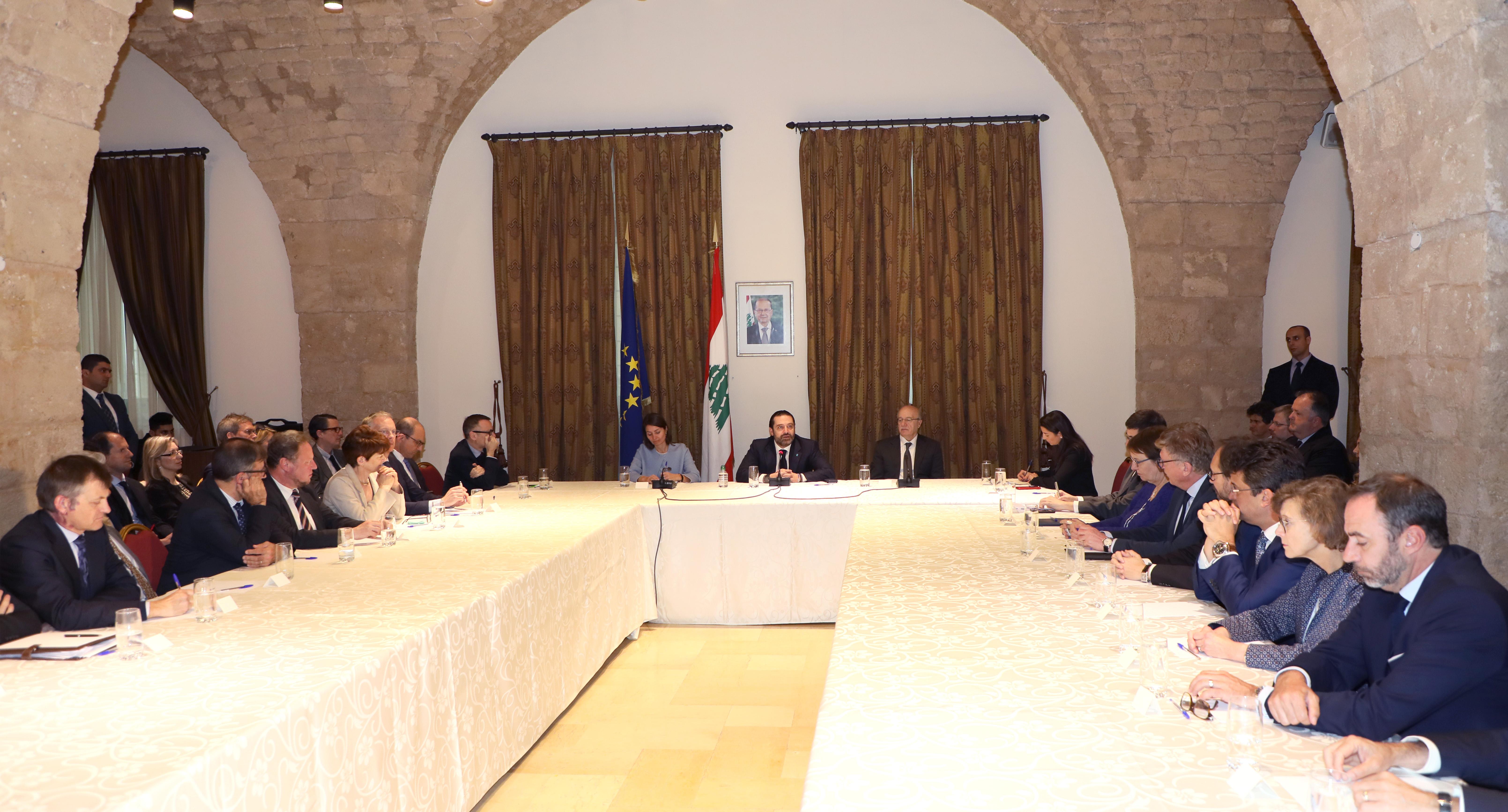 Pr Minister Saad Hariri meets a Delegation from European Ambassador 1