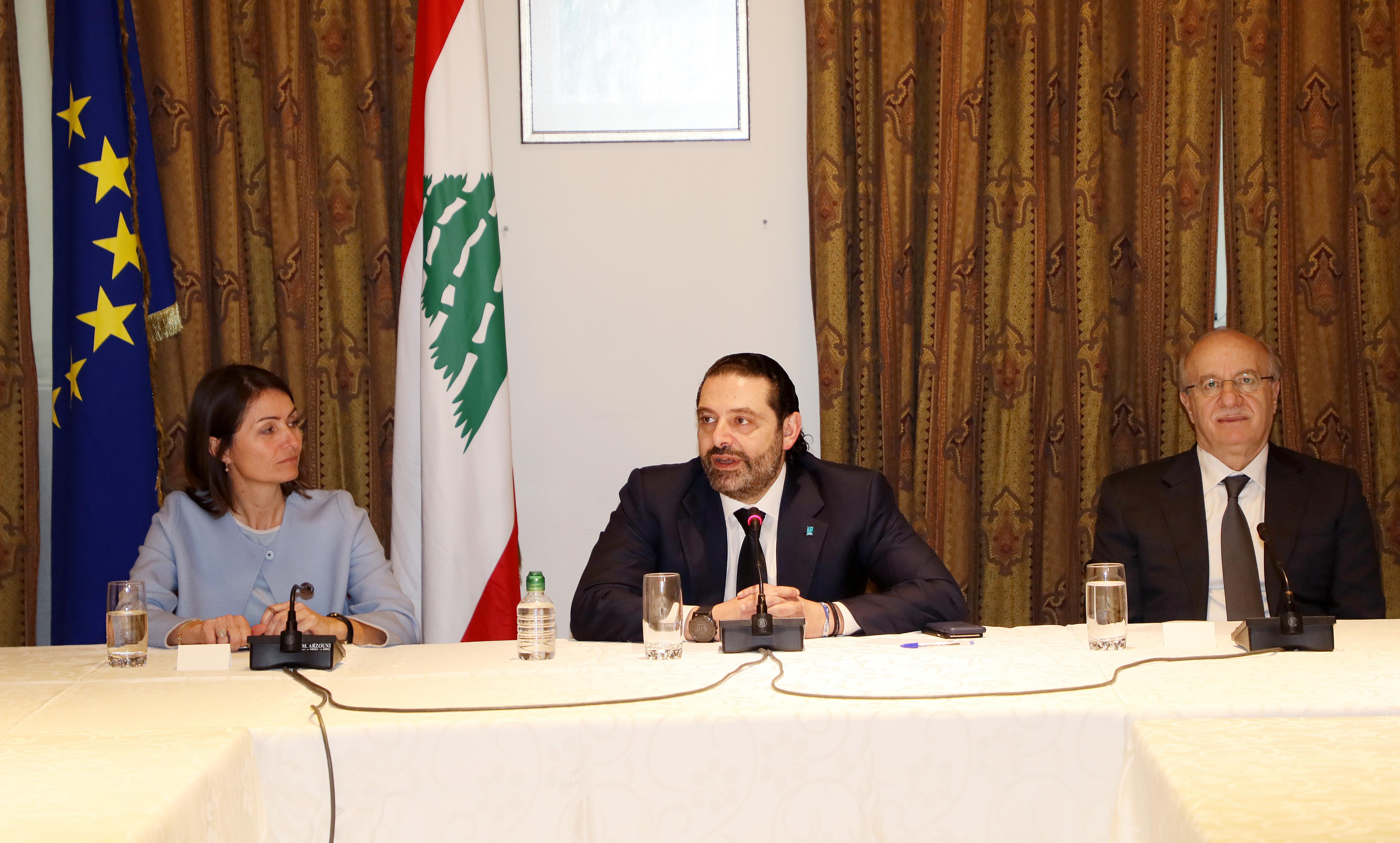 Pr Minister Saad Hariri meets a Delegation from European Ambassador