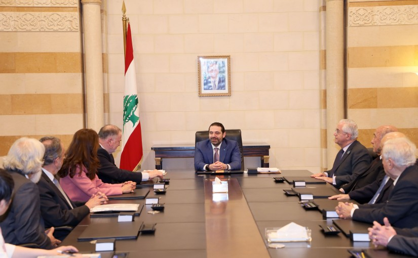 Pr Minister Saad Hariri meets a Delegation from World Water Solution