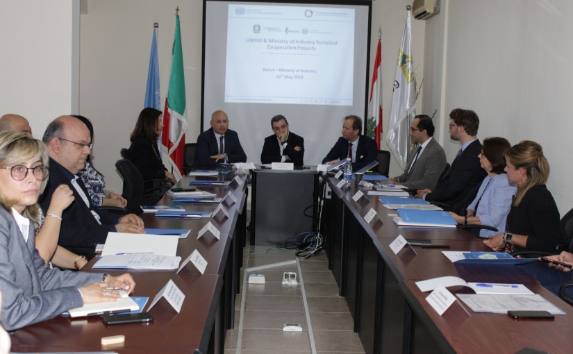 Minister Wael abou Faour meets Italian Ambassador with a Delegation