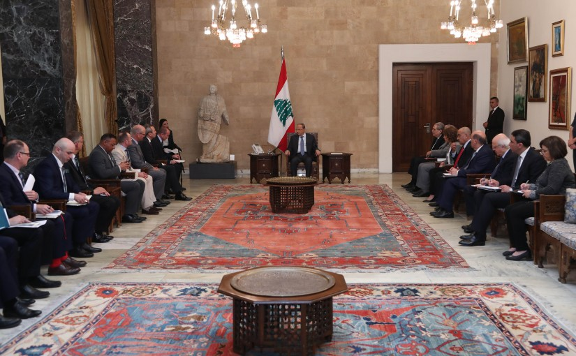 President Michel Aoun meets a Delegation from the Royal British School of Defense Studies.