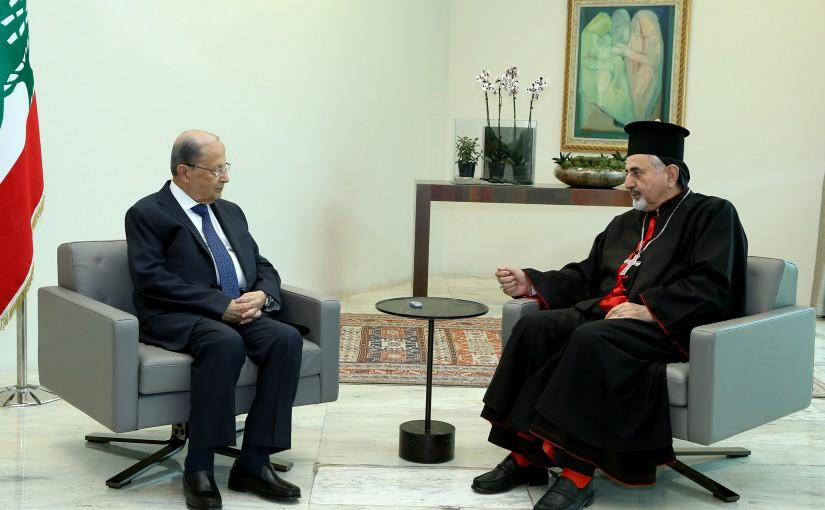 President Michel Aoun meets Patriarch Mor Ignatius Youssef III Younan.