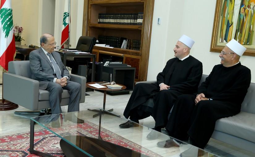 President Michel Aoun meets Judge Sheikh Ghandi Makarem.
