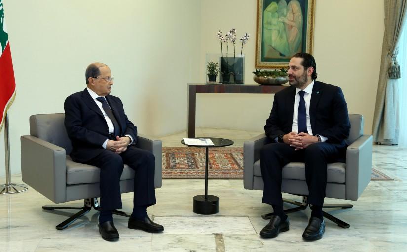 President Michel Aoun meets PM Saad Hariri.