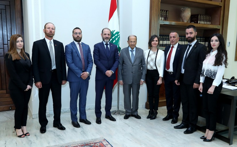 President Michel Aoun meets Mr. Ibrahim Mrad with a Delegation.