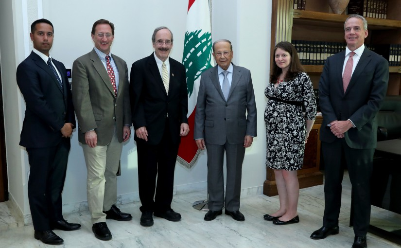 President Michel Aoun meets Chairman of the Foreign Affairs Committee of the US Congress Mp Eliot Engel With Delegation