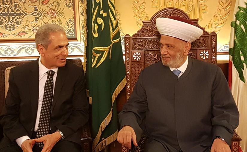 Grand Mufti Abdel Latif Derian Meets Former MP Kasem Abdel Aziz