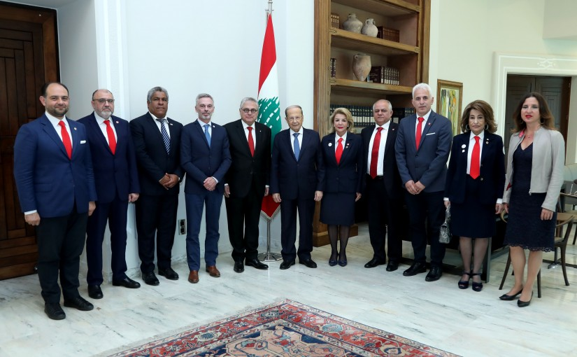 President Michel Aoun meets Dr. Antoine Zoghbi with a Delegation of the Lebanese Red Cross Society.
