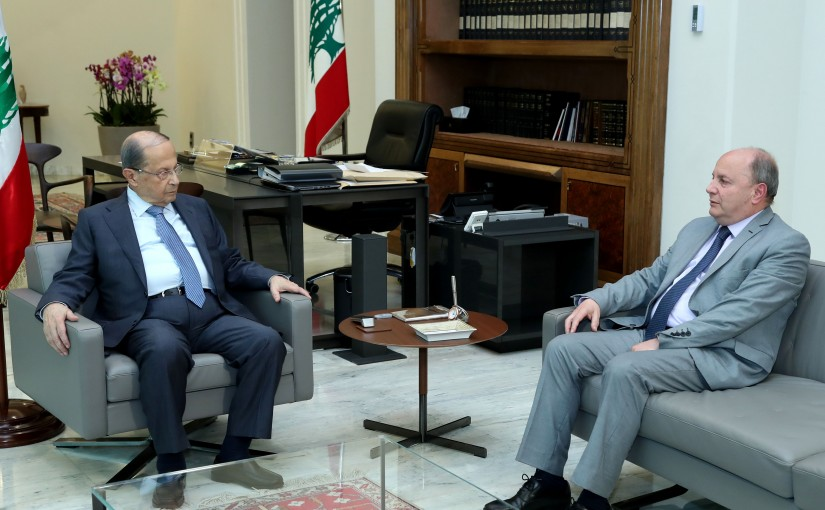 President Michel Aoun meets President of the General Labor Union Bechara Al Asmar.