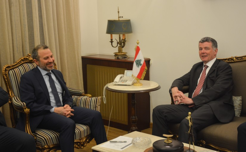 Minister Gebran Basil Meets The Political Director of the British Foreign Office Richard Moore