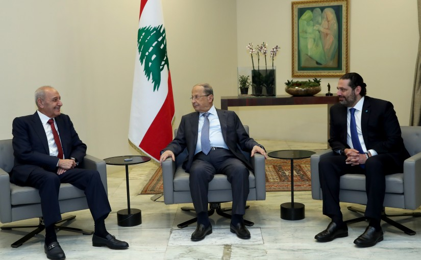 President Michel Aoun meets  House Speaker Nabih Berri and PM Saad Hariri