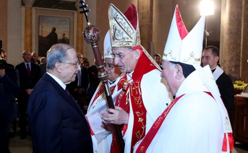 President Michel Aoun Attends a Mass at St George Cathedral Beirut