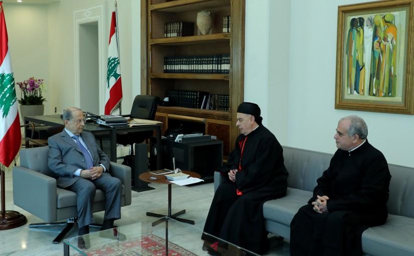 President Michel Aoun meets Bishop Boulos Al Sayah & Father Abdo Abou Kasam.