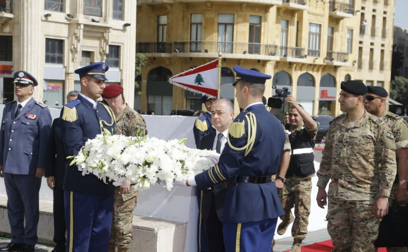 Minister Elias Abiu Saab Representing President Michel Aoun put a Wreath at the Martyrs Square