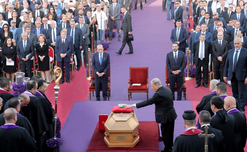 President Michel Aoun participate in the funeral ceremony of the Patriarchal Maronite Patriarch Nasrallah Boutros Sfeir