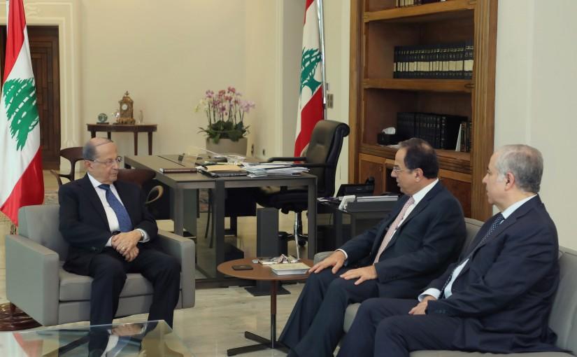 President Michel Aoun meets Min. Mansour Bteich & Mr Salah Osseiran.
