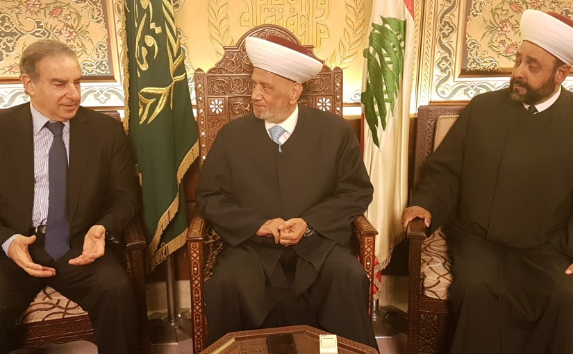 Grand Mufti Abdel Latif Derian Meets Former Minister Michel Pharaoun