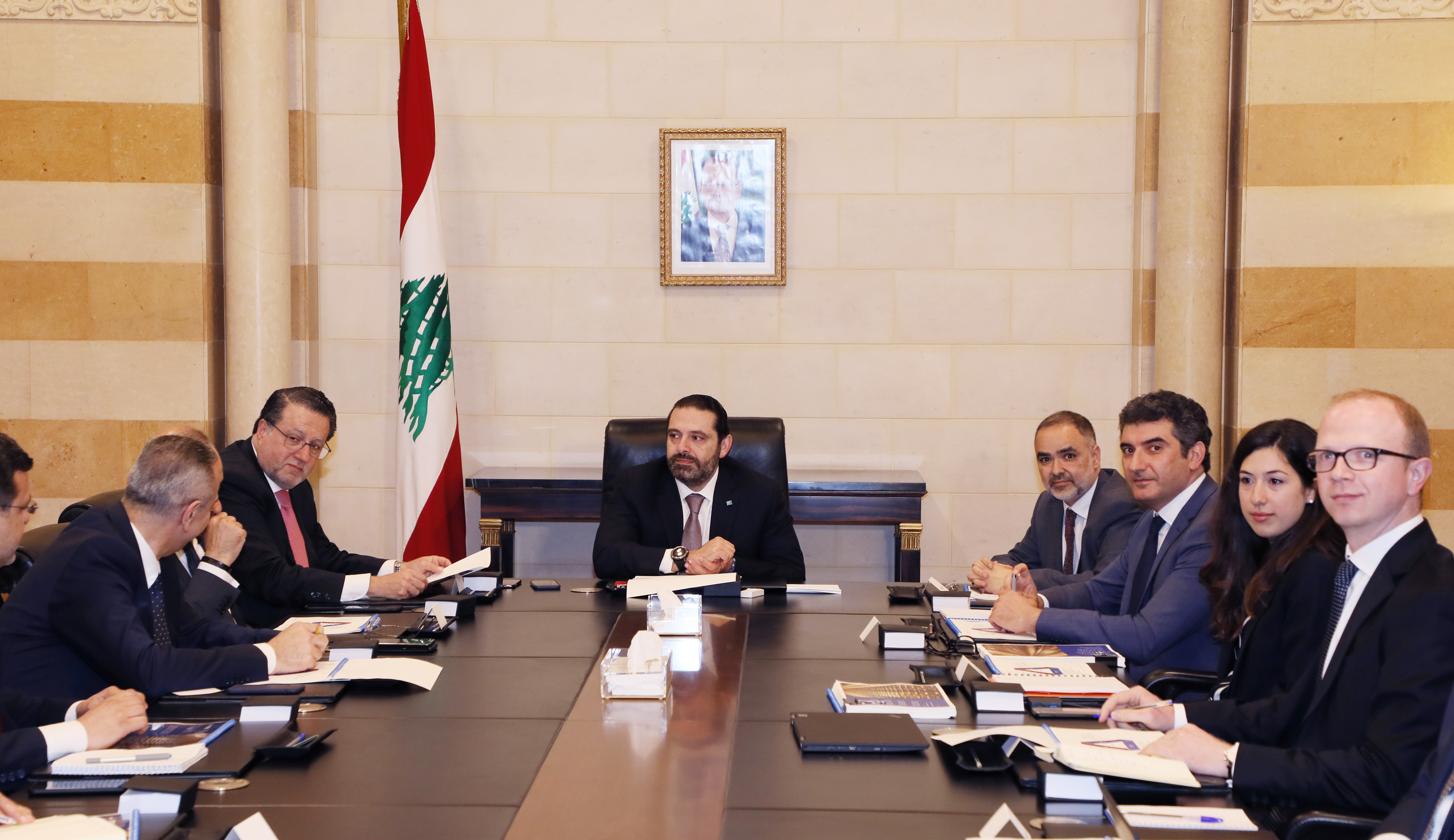 Pr Minister Saad Hariri meets Minister Mouhamad Choukair with a Delegation