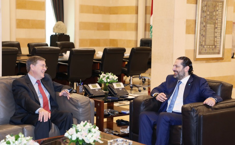 Pr Minister Saad Hariri meets US Assistant Secretary of State for Near Eastern Affairs David Satterfield.