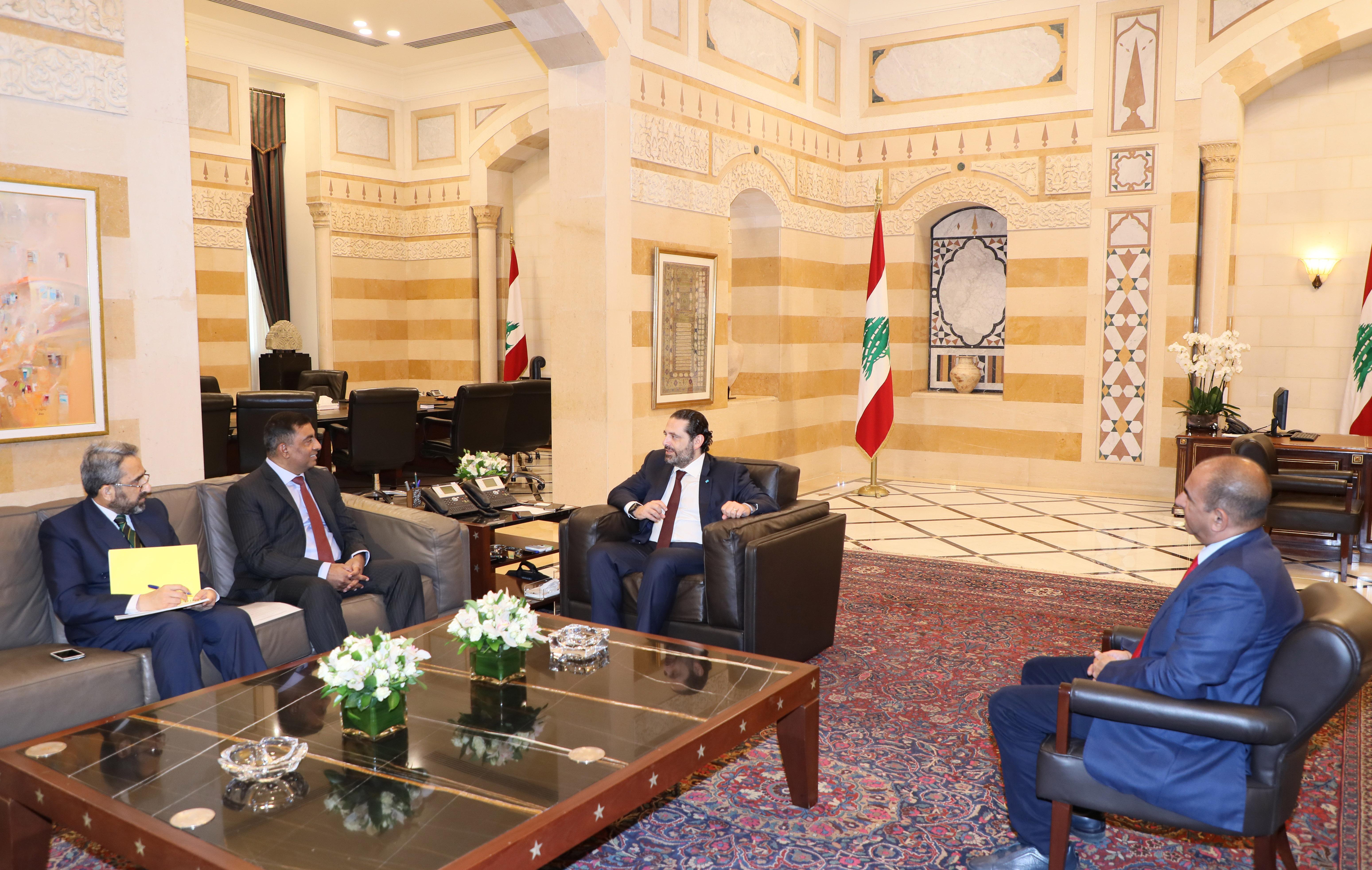 Pr Minister Saad Hariri meets Pakistan Ambassador