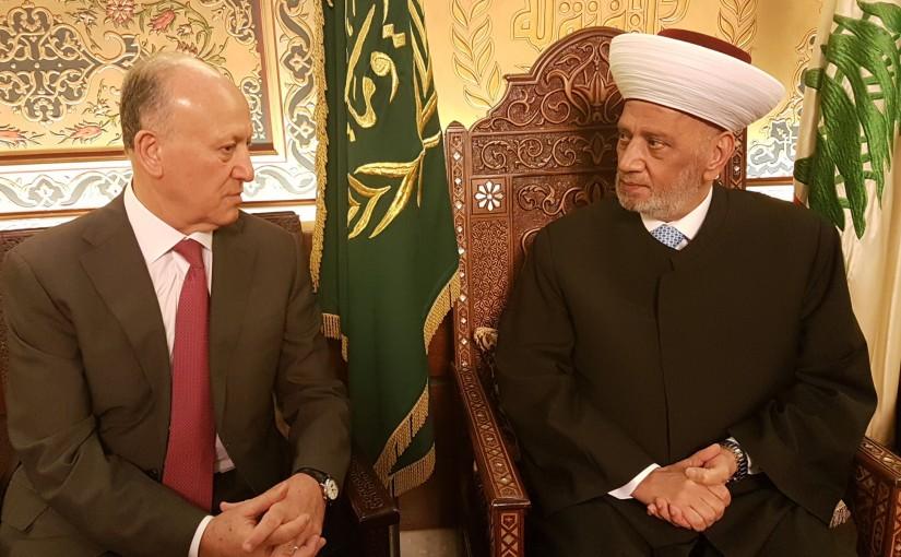 Grand Mufti Abdel Latif Derian Meets Former Minister Achraf Rifi