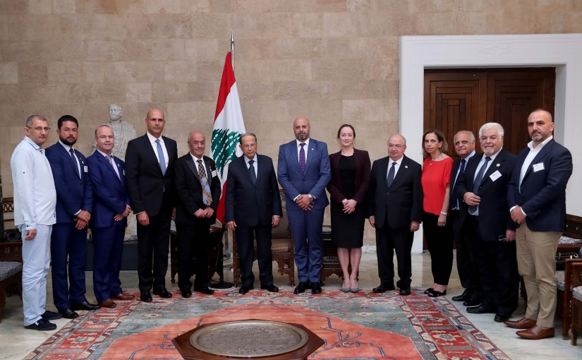 "President Michel Aoun meets a delegation from the ""Australia-Lebanon"" Chamber of Commerce and Industry,"