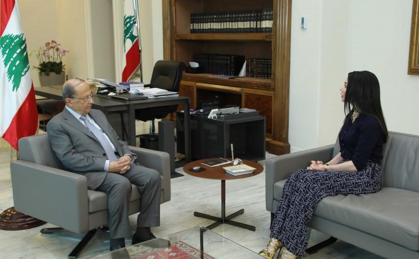 President Michel Aoun Meets Lebanese Ambassador in Republic of Gabone Aline Youness