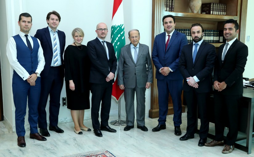President Michel Aoun meets a Delegation From Morgan Stanley Bank