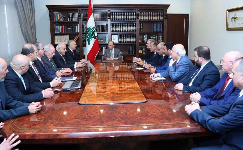 President Michel Aoun Meets MP Edgard Trabolsi with a Delegation