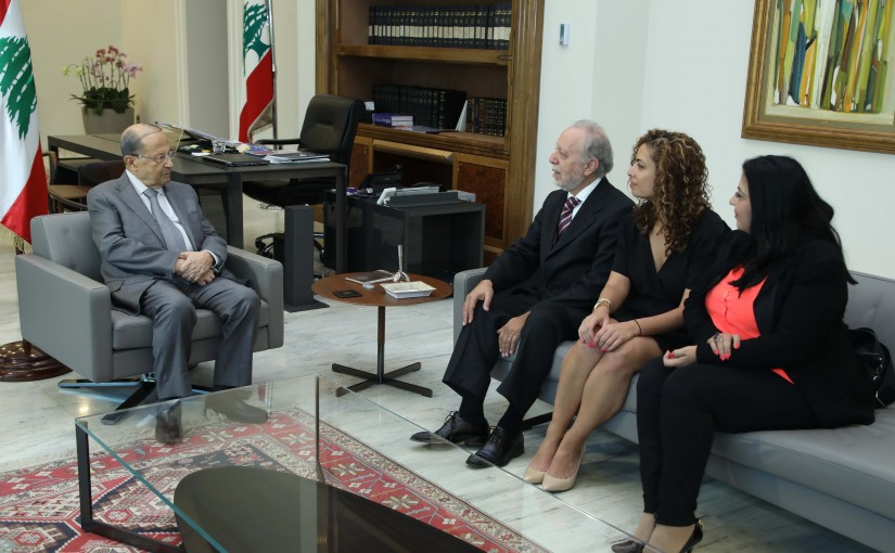 President Michel Aoun Meets Lebanese Painter Fouad Tomb & Family