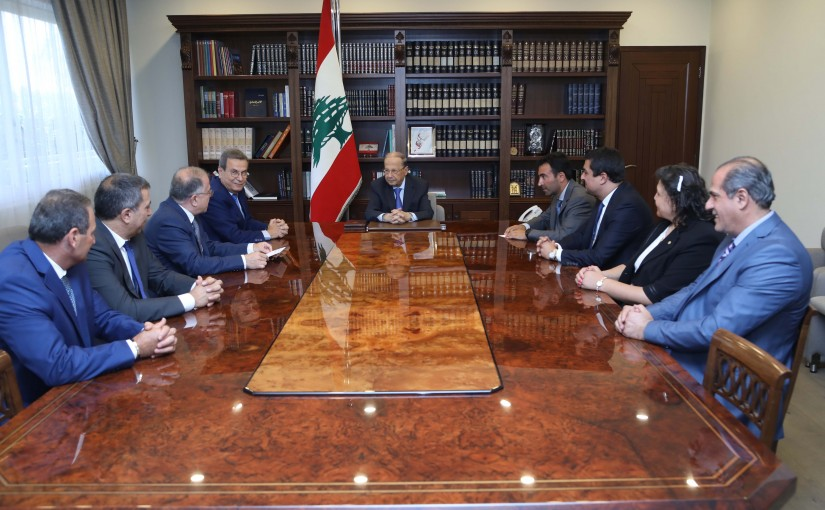 President Michel Aoun Meets a Delegation From Jal El-Dib Municipality With Former MP Nabil Nicolas
