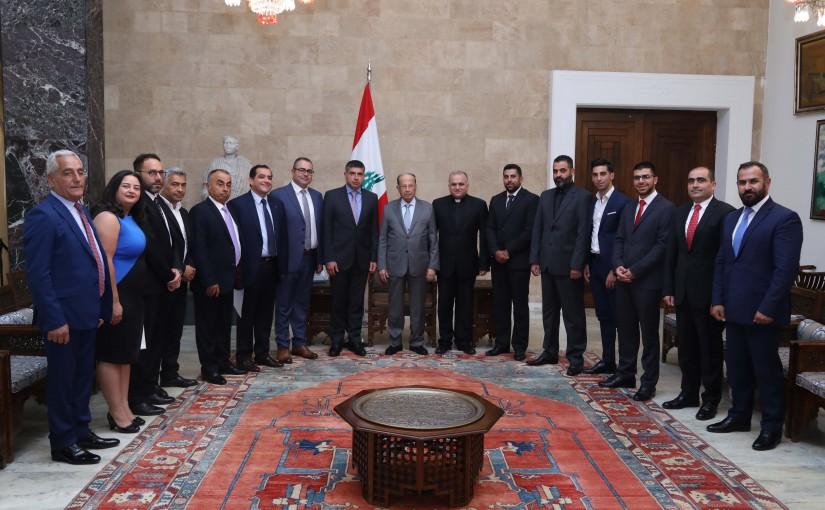 President Michel Aoun Meets a Delegation From Kfardebian Municipality