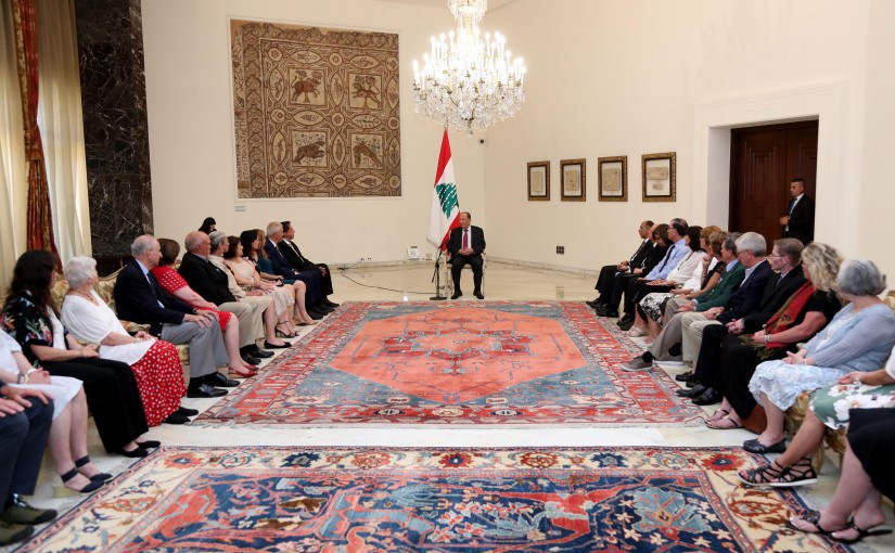 President Michel Aoun Meets a Delegation of The National Federation of Syrian Lebanese American Clubs  Headed By President Albert Johary