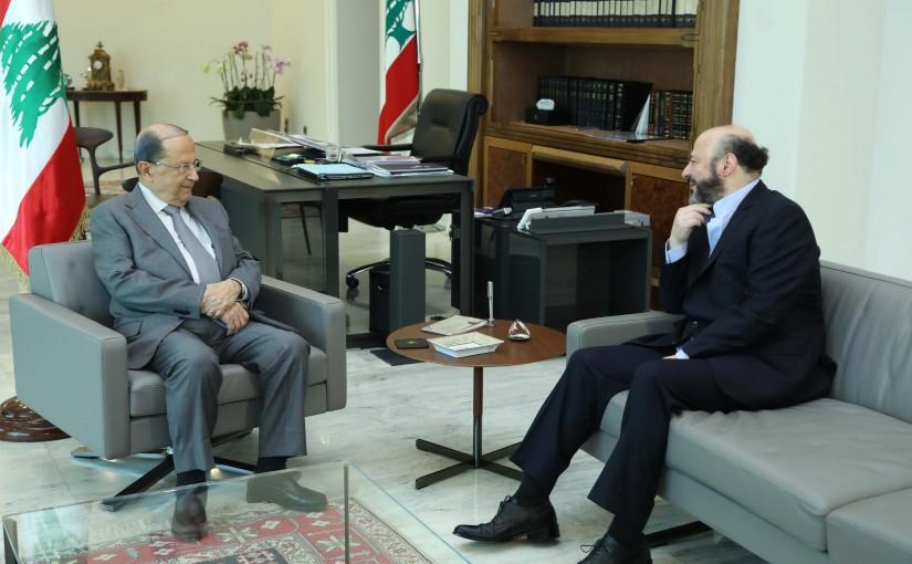 President Michel Aoun Meets Former Minister Melhem Riyachi
