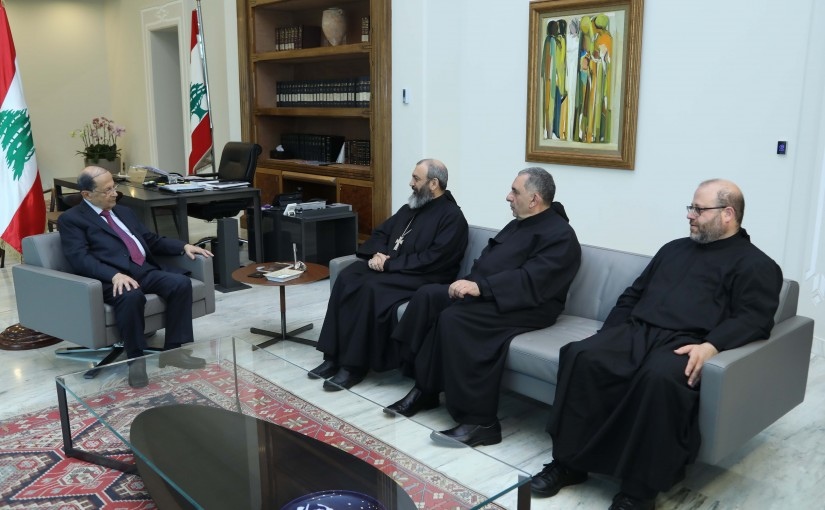 President Michel Aoun Meets President of The Maronite Order Father Nehmatallah El Hachem & Abbot Tanous Nehmeh