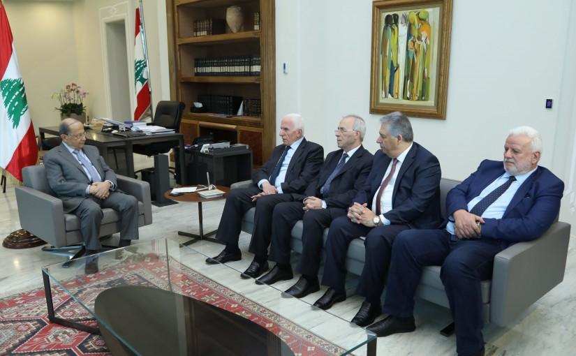 President Michel Aoun Meets a Palestinian Delegation Headed By Minister Azzam Al Ahmad