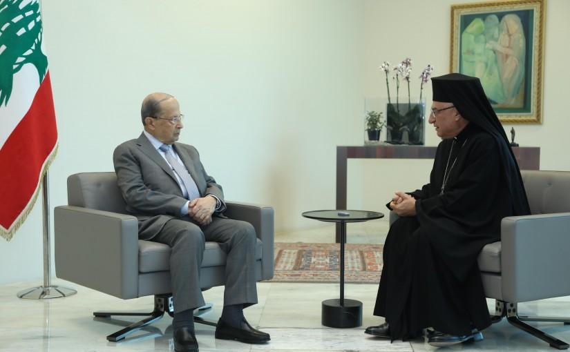 President Michel Aoun Meets Melkite Greek Catholic Church Patriarch Youssef Absi