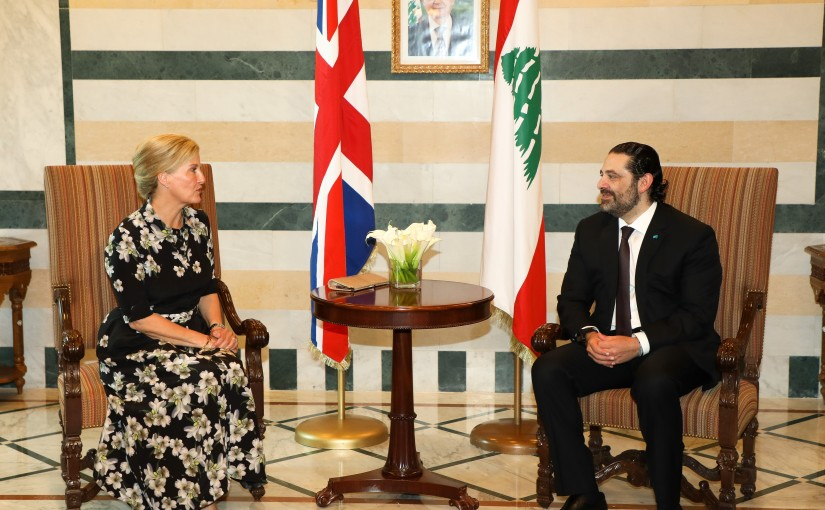 Pr Minister Saad Hariri meets Countess of Wessex Sophie Helen RHYS- Jones