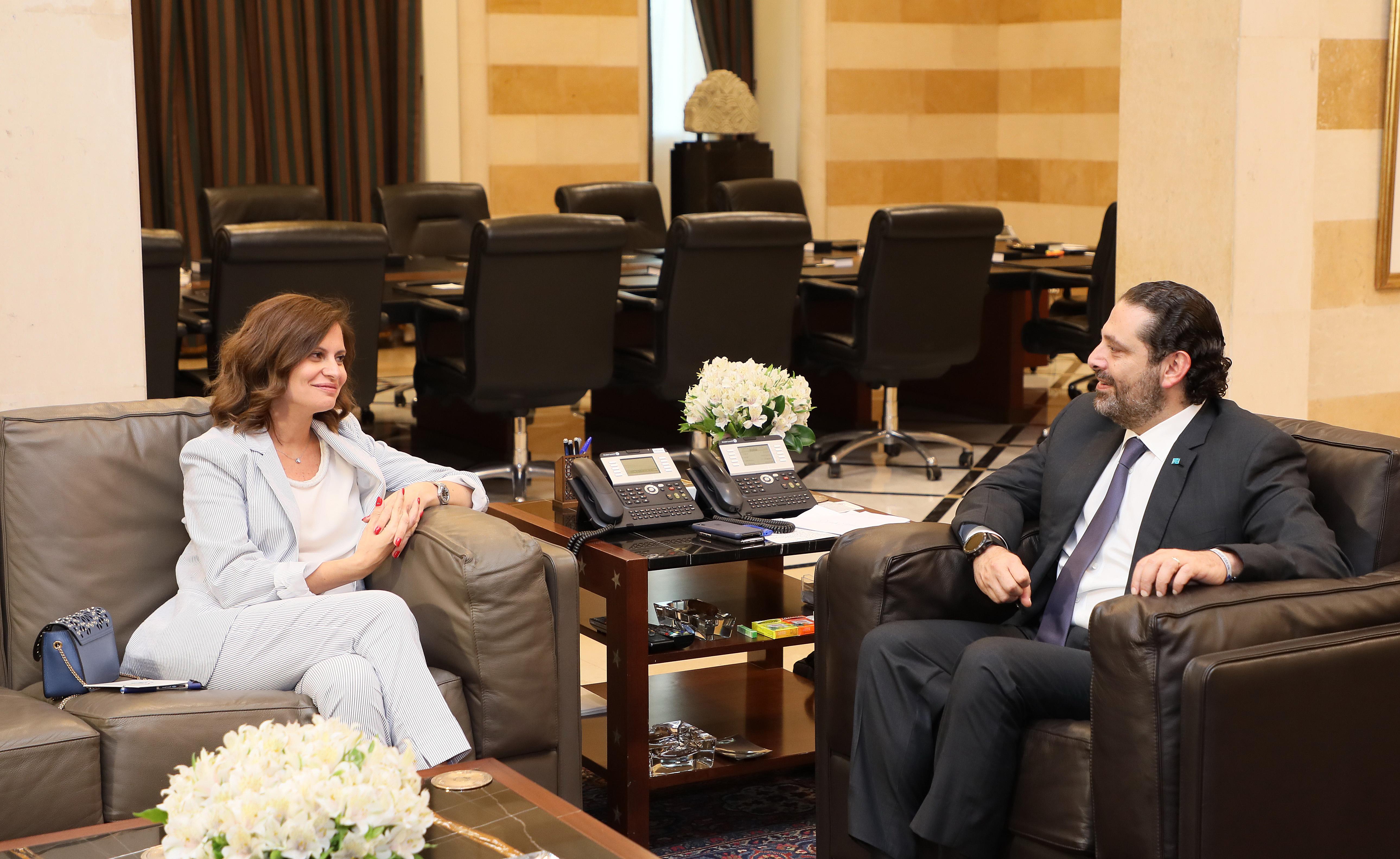 Pr Minister Saad Hariri meets Minister May Boustani