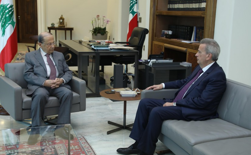President Michel Aoun Meets Governor of Central Bank Dr Riyad Saleme