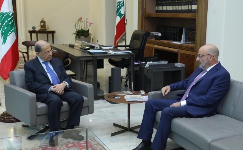 President Michel Aoun Meets Former Minister Yaacoub Sarraf