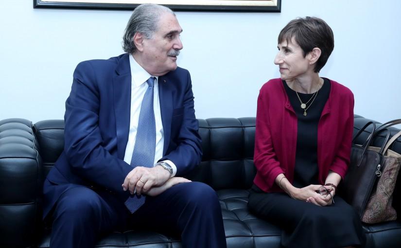 Minister Selim Jreysati Meets Mireille Girard the UNHCR representative in Lebanon.