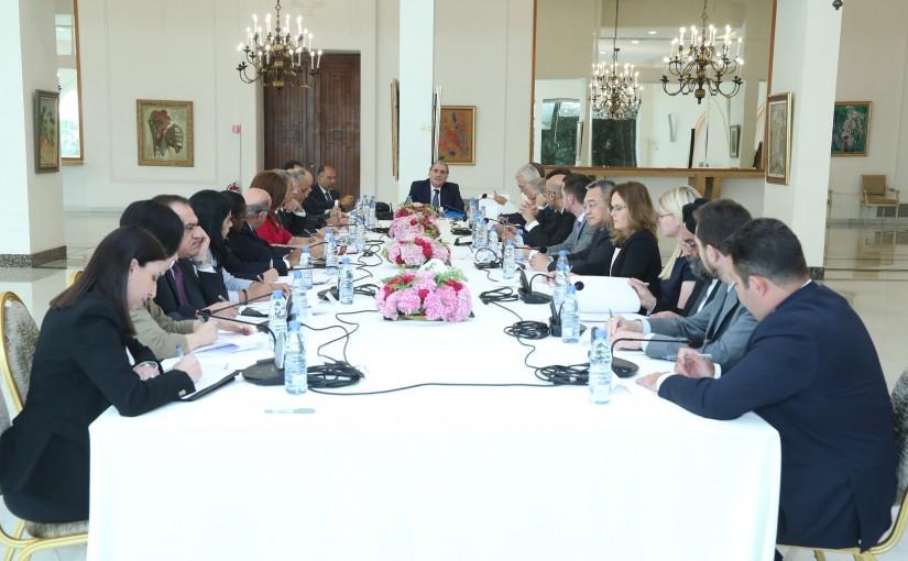 Minister Selim Jreysati Meets a Delegation of Arab & European Ambassadors