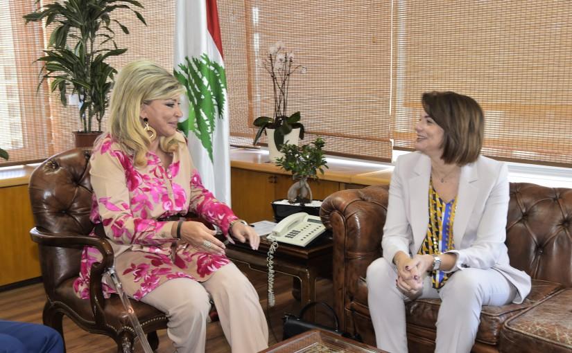 Minister May Chidiac meets Minister Raya el Hassan