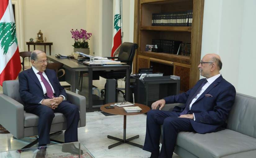 President Michel Aoun Meets Head of Beirut Bar Association Andre Chidiac
