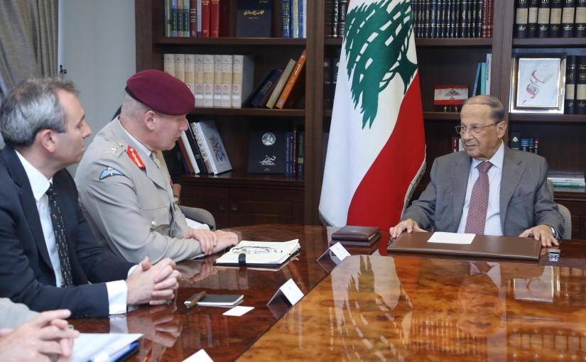 President Michel Aoun Meets British Lieutenant General Sir John Lorimer