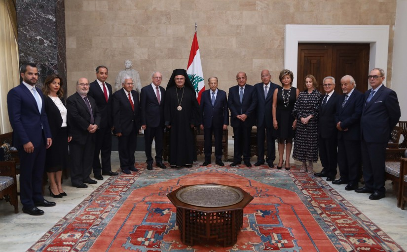 President Michel Aoun Meets Archbishop of the Melkite Greek Catholic Archeparchy of Beirut and Byblos Georges Bacouni